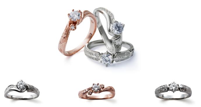 ハンドメイドのハワイアン・ジュエリーに高品質ダイヤをセッティング