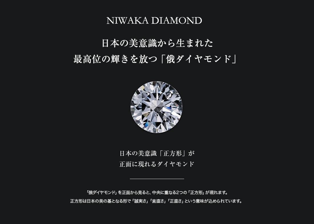 日本の美意識から生まれた最高位の輝きを放つ「俄ダイヤモンド」日本の美意識「正方形」が正面に現れるダイヤモンド