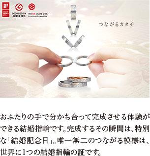 おふたりの手で分かち合って完成させる体験ができる結婚指輪です。完成するその瞬間は、特別な「結婚記念日」。唯一無二のつながる模様は、世界に1つの結婚指輪の証です。