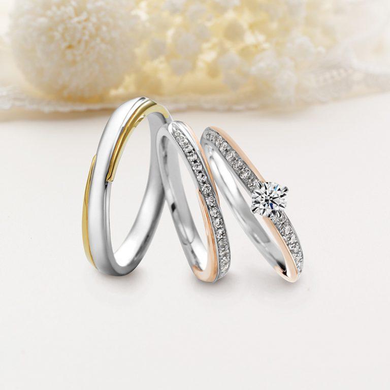 Meteore(メテオール) クワンドゥマリアージュ婚約指輪、結婚指輪のセットリング
