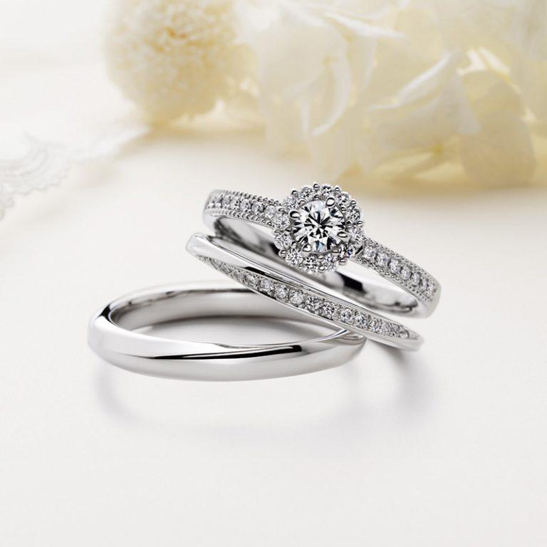 Au Soleil(オ ソレイユ) クワンドゥマリアージュの婚約指輪、結婚指輪のセットリング