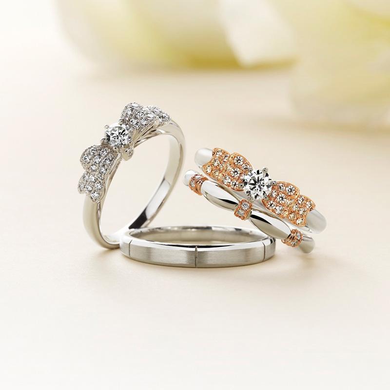 Ciffon(シフォン)マリアージュエントの婚約指輪、結婚指輪のセットリング