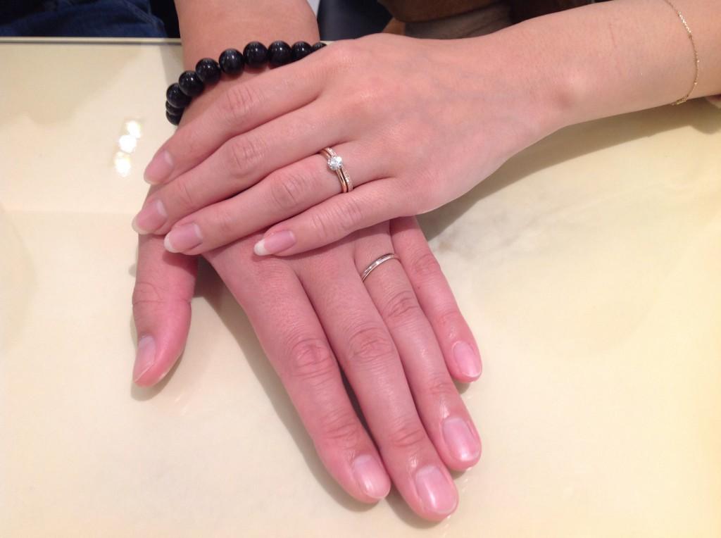 ラブボンド婚約指輪・ポンテヴェキオ・ラブボンドの結婚指輪をお作り頂きました。