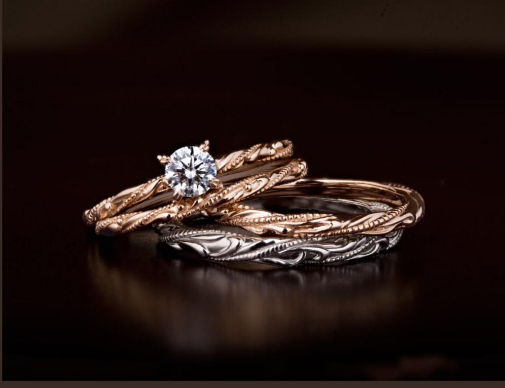 ルシエのご婚約指輪と俄のご結婚指輪をお作り頂きました