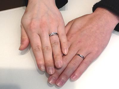 ロイヤルアッシャーの婚約指輪・ルシエの結婚指輪をお作り頂きました。