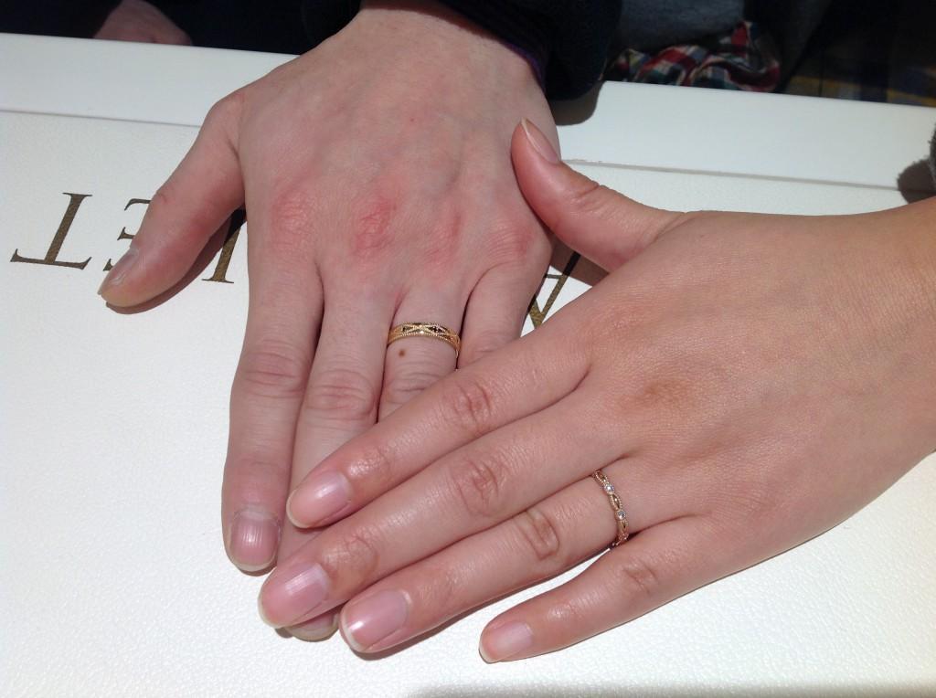 アムールアミュレットの結婚指輪をお作り頂きました。