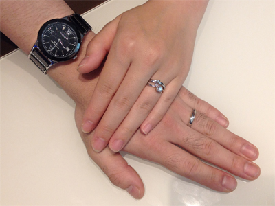 セミオーダーの婚約指輪・ルシエの結婚指輪をお作り頂きました。