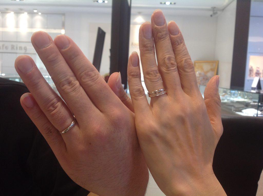 ポンテヴェキオの結婚指輪&プルーヴ結婚指輪重ね着けでお作り頂きました。