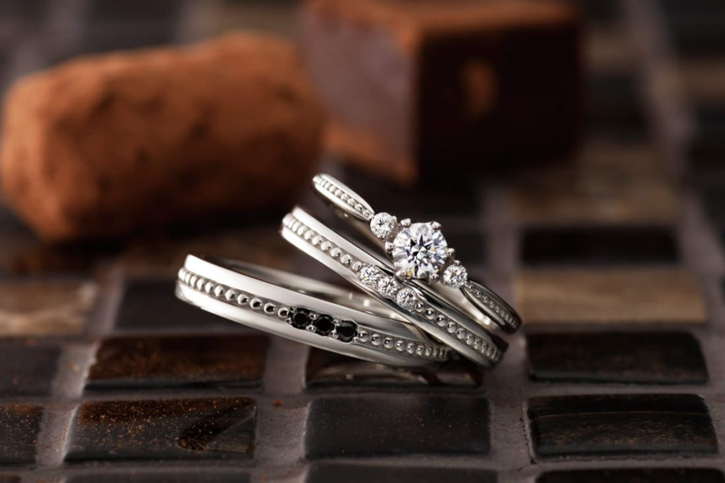 パヴェオショコラの結婚指輪をお作り頂きました。