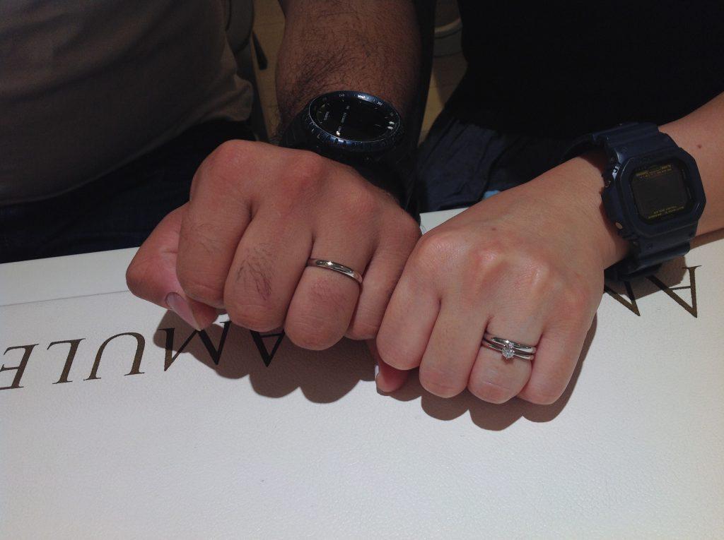 ロイヤルアッシャーの婚約指輪、ポンテヴェキオの結婚指輪をお作り頂きました。