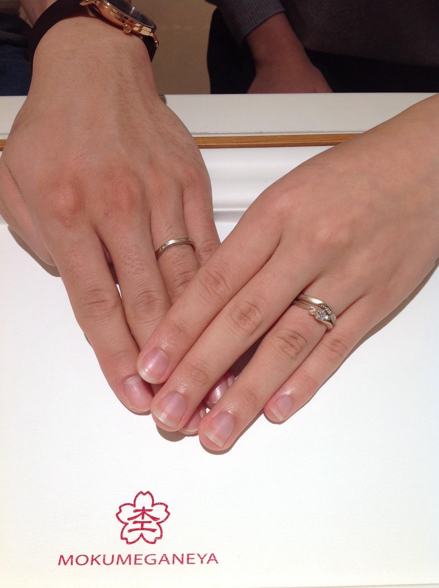 杢目金屋(もくめがねや)のご婚約指輪・ご結婚指輪をお作り頂きました