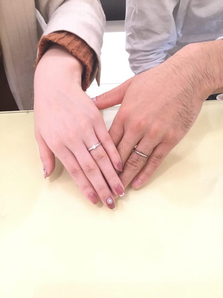 カフェリングとロイヤルアッシャーのご結婚指輪をお作り頂きました!