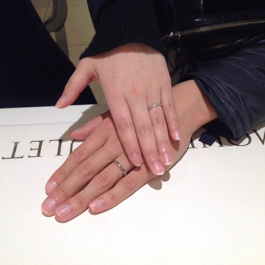 ロイヤルアッシャーダイヤモンドのご結婚指輪をお作り頂きました!
