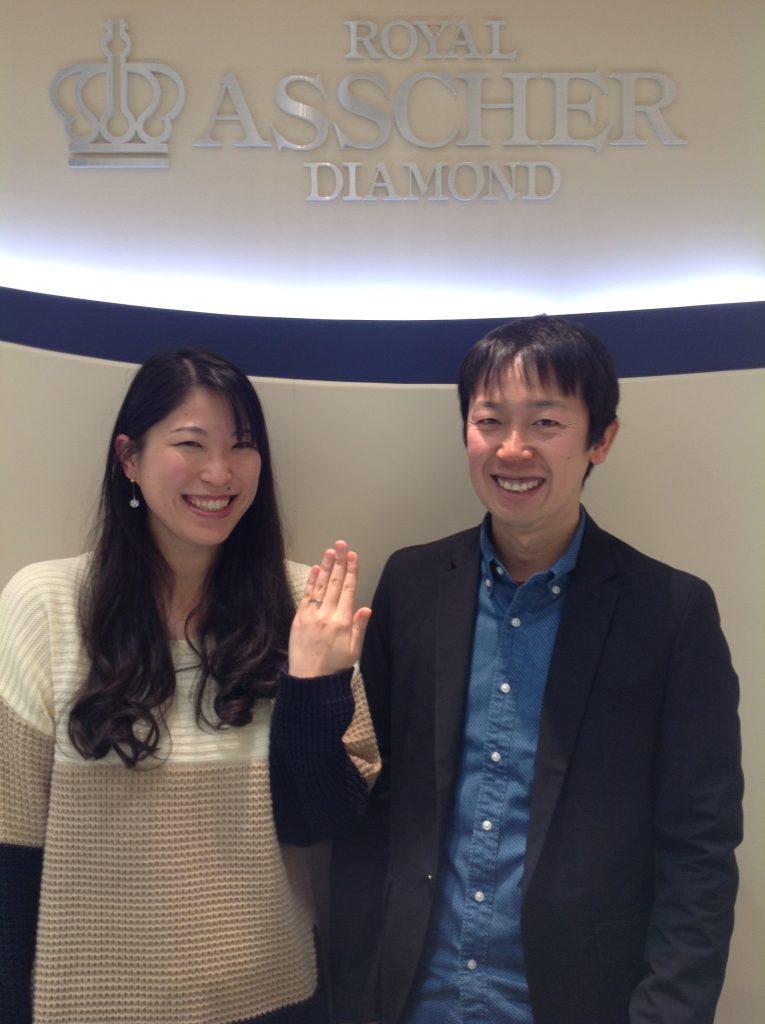 ロイヤルアッシャーダイヤモンドのご婚約指輪をお作り頂きました!