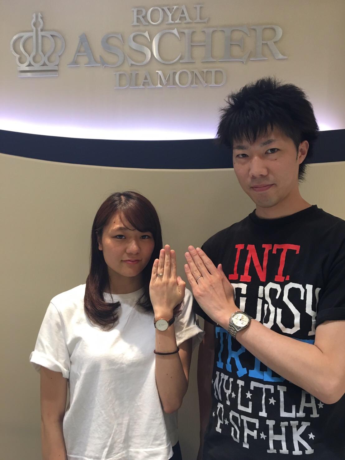 【長野市】ロイヤルアッシャーダイヤモンドのご婚約指輪とご結婚指輪をお作り頂きました!