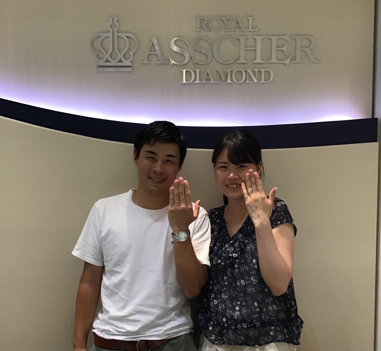 【長野市】ロイヤルアッシャーダイヤモンドのご結婚指輪をお作り頂きました!