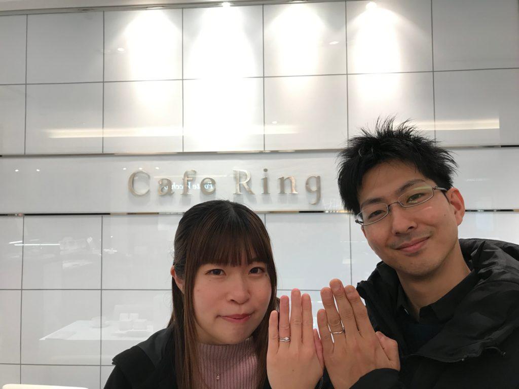 【長野市】カフェリングの婚約指輪、結婚指輪をお作り頂きました。