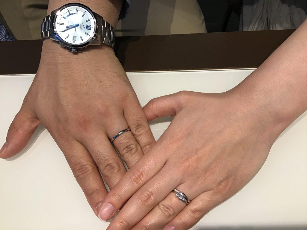 【飯田市】ロイヤルアッシャーの婚約指輪、俄の結婚指輪をお作り頂きました!